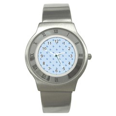 Blue Butterfly Line Animals Fly Stainless Steel Watch