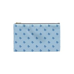 Blue Butterfly Line Animals Fly Cosmetic Bag (Small)
