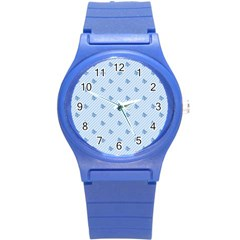 Blue Butterfly Line Animals Fly Round Plastic Sport Watch (S)