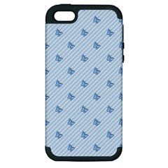 Blue Butterfly Line Animals Fly Apple iPhone 5 Hardshell Case (PC+Silicone)
