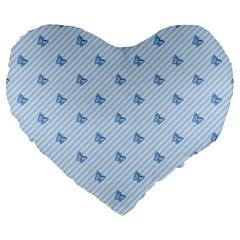 Blue Butterfly Line Animals Fly Large 19  Premium Heart Shape Cushions