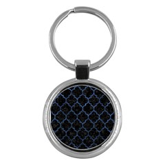 Tile1 Black Marble & Blue Stone Key Chain (round)