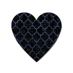 Tile1 Black Marble & Blue Stone Magnet (heart)