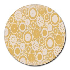 Wheels Star Gold Circle Yellow Round Mousepads