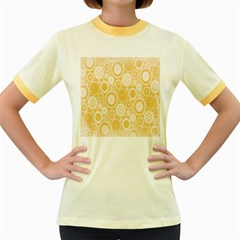 Wheels Star Gold Circle Yellow Women s Fitted Ringer T Shirts