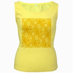 Wheels Star Gold Circle Yellow Women s Yellow Tank Top