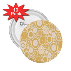 Wheels Star Gold Circle Yellow 2 25  Buttons (10 Pack)