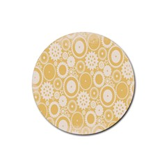 Wheels Star Gold Circle Yellow Rubber Coaster (round)