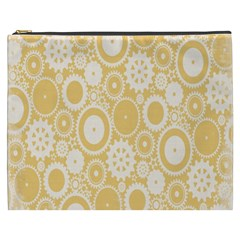 Wheels Star Gold Circle Yellow Cosmetic Bag (XXXL)