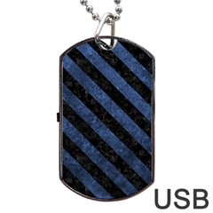 STR3 BK-MRBL BL-STONE (R) Dog Tag USB Flash (One Side)
