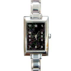 Boxs Black Background Pattern Rectangle Italian Charm Watch
