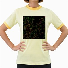Boxs Black Background Pattern Women s Fitted Ringer T-Shirts