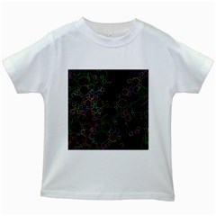 Boxs Black Background Pattern Kids White T Shirts