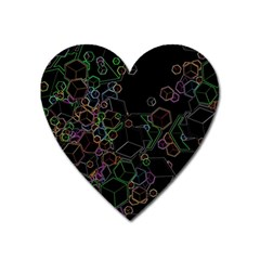 Boxs Black Background Pattern Heart Magnet