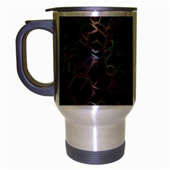 Boxs Black Background Pattern Travel Mug (Silver Gray)