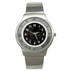 Boxs Black Background Pattern Stainless Steel Watch