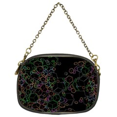 Boxs Black Background Pattern Chain Purses (One Side)