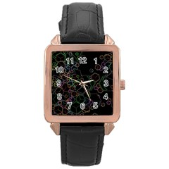 Boxs Black Background Pattern Rose Gold Leather Watch
