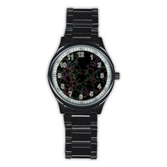 Boxs Black Background Pattern Stainless Steel Round Watch