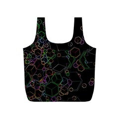Boxs Black Background Pattern Full Print Recycle Bags (S)