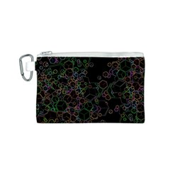 Boxs Black Background Pattern Canvas Cosmetic Bag (S)