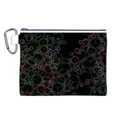 Boxs Black Background Pattern Canvas Cosmetic Bag (L)