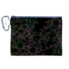 Boxs Black Background Pattern Canvas Cosmetic Bag (xl)