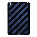 STRIPES3 BLACK MARBLE & BLUE STONE Apple iPad Mini Case (Black) Front