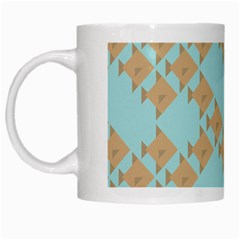 Fish Animals Brown Blue Line Sea Beach White Mugs