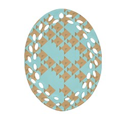 Fish Animals Brown Blue Line Sea Beach Ornament (Oval Filigree)