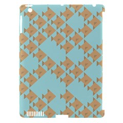 Fish Animals Brown Blue Line Sea Beach Apple iPad 3/4 Hardshell Case (Compatible with Smart Cover)