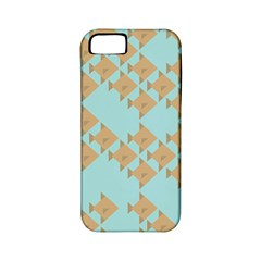 Fish Animals Brown Blue Line Sea Beach Apple iPhone 5 Classic Hardshell Case (PC+Silicone)
