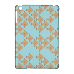 Fish Animals Brown Blue Line Sea Beach Apple iPad Mini Hardshell Case (Compatible with Smart Cover)