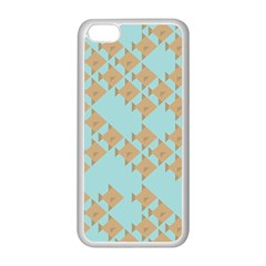 Fish Animals Brown Blue Line Sea Beach Apple iPhone 5C Seamless Case (White)