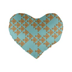 Fish Animals Brown Blue Line Sea Beach Standard 16  Premium Flano Heart Shape Cushions