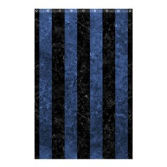 Stripes1 Black Marble & Blue Stone Shower Curtain 48  X 72  (small)