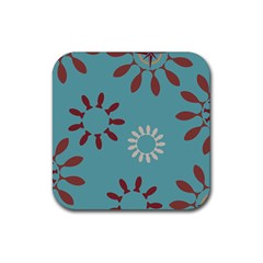 Fish Animals Star Brown Blue White Rubber Square Coaster (4 Pack)