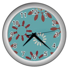 Fish Animals Star Brown Blue White Wall Clocks (silver)