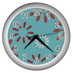 Fish Animals Star Brown Blue White Wall Clocks (Silver)  Front