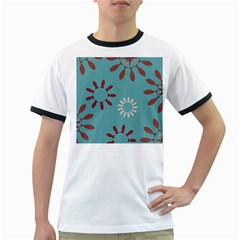 Fish Animals Star Brown Blue White Ringer T-Shirts