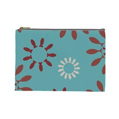 Fish Animals Star Brown Blue White Cosmetic Bag (Large)