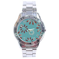 Fish Animals Star Brown Blue White Stainless Steel Analogue Watch