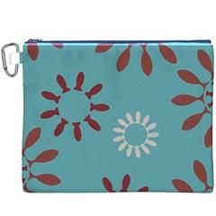 Fish Animals Star Brown Blue White Canvas Cosmetic Bag (XXXL)