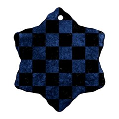 Square1 Black Marble & Blue Stone Snowflake Ornament (two Sides)