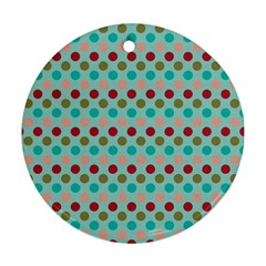 Large Circle Rainbow Dots Color Red Blue Pink Ornament (Round)