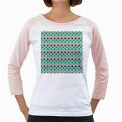 Large Circle Rainbow Dots Color Red Blue Pink Girly Raglans