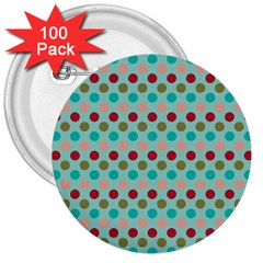 Large Circle Rainbow Dots Color Red Blue Pink 3  Buttons (100 pack)