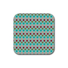 Large Circle Rainbow Dots Color Red Blue Pink Rubber Square Coaster (4 Pack)