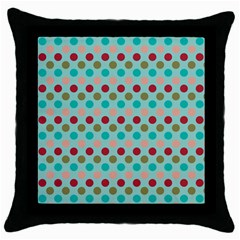 Large Circle Rainbow Dots Color Red Blue Pink Throw Pillow Case (Black)