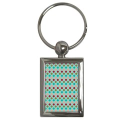 Large Circle Rainbow Dots Color Red Blue Pink Key Chains (Rectangle)